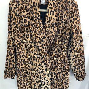 Vintage silk leopard print Bloomingdales blazer